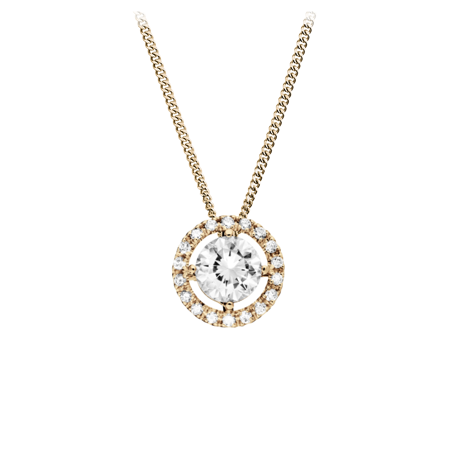 Halo Diamond Pendant with Brilliants in Rose Gold