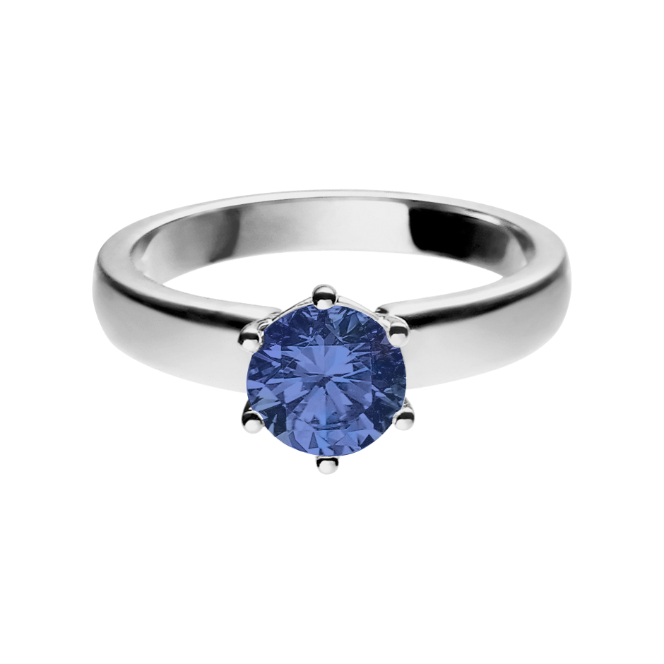Malmö Tanzanite blue in Platinum