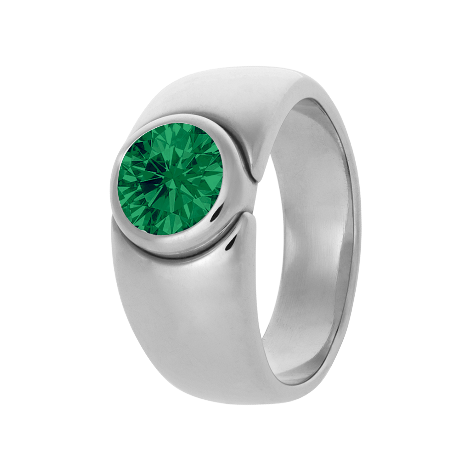 Mantua Emerald green in White Gold