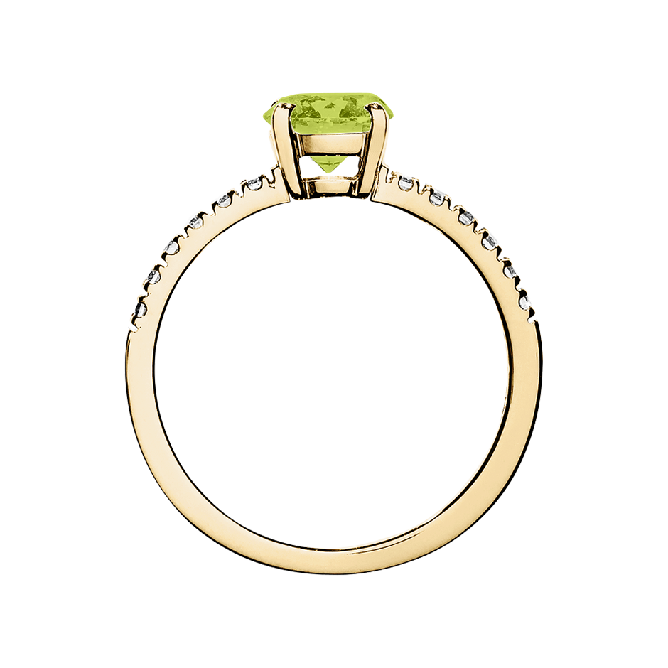 Melbourne Peridot green in Yellow Gold