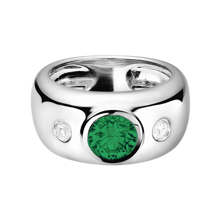Naples Emerald green in White Gold