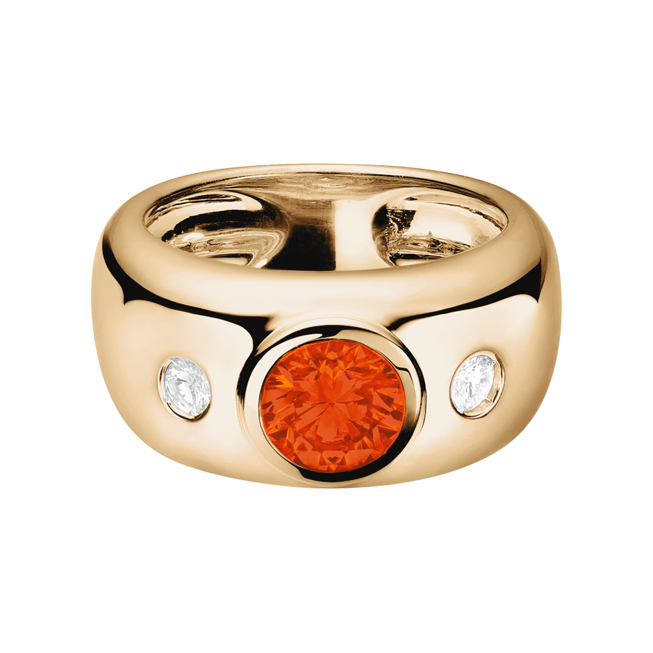 Naples Fire Opal orange in Rose Gold