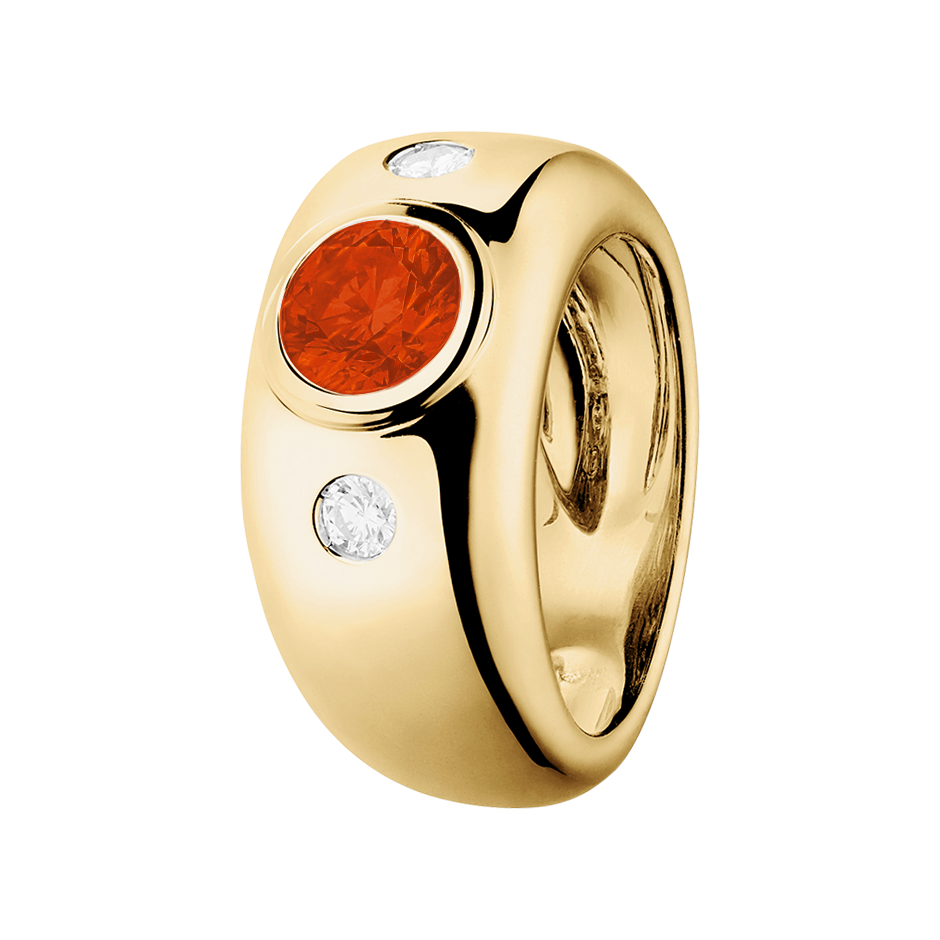 Naples Fire Opal orange in Yellow Gold