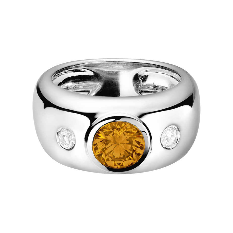 Naples Madeira Citrine orange in Platinum