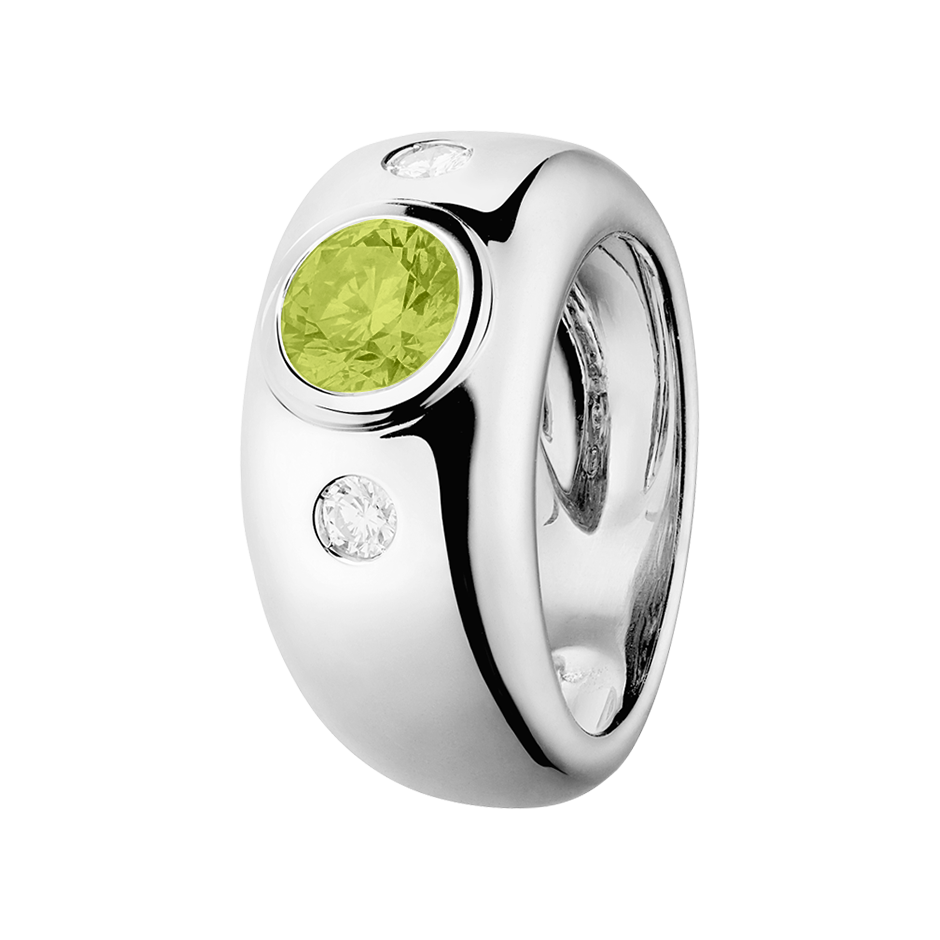 Naples Peridot green in White Gold