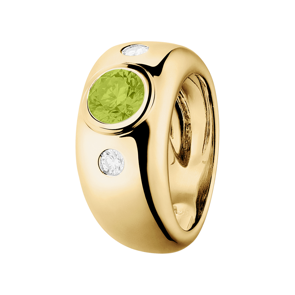 Naples Peridot green in Yellow Gold
