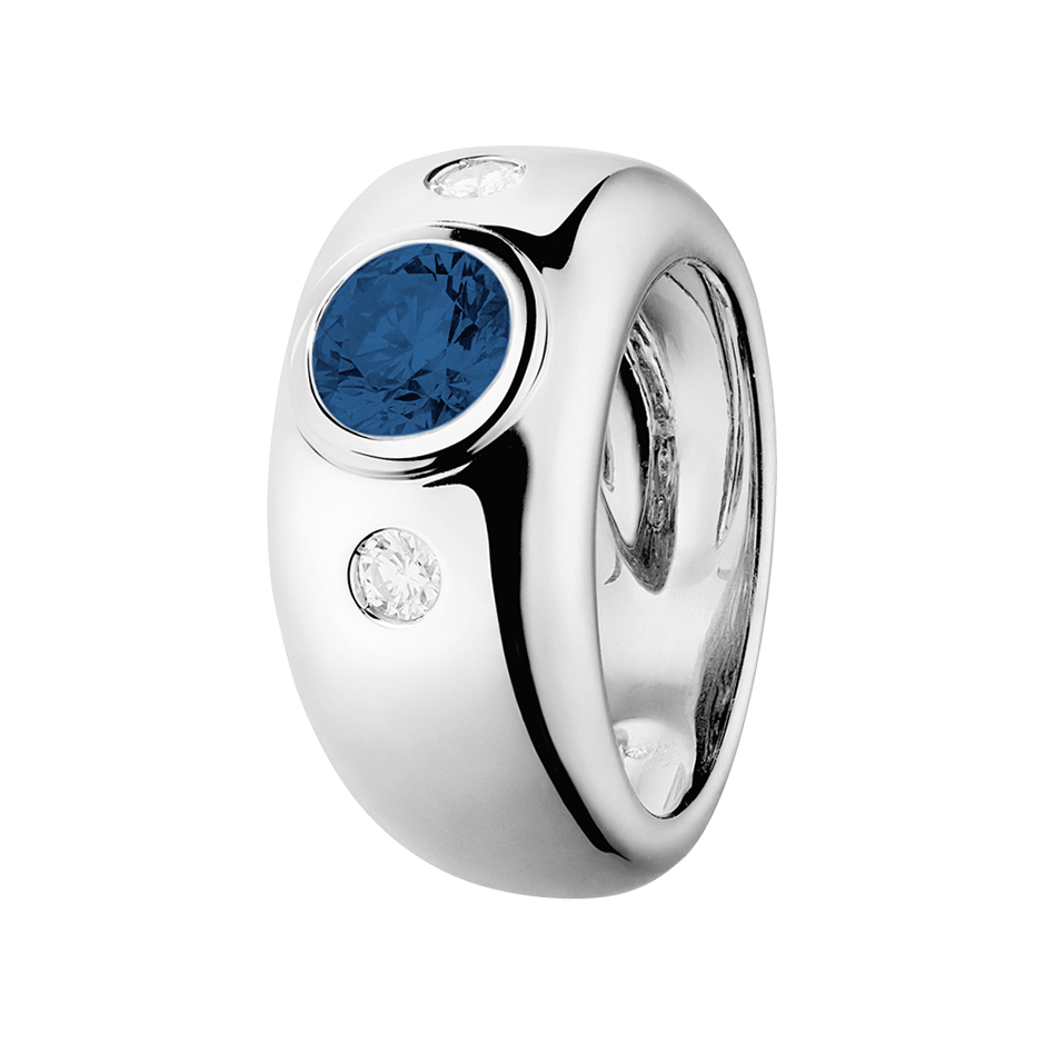 Naples Sapphire blue in White Gold
