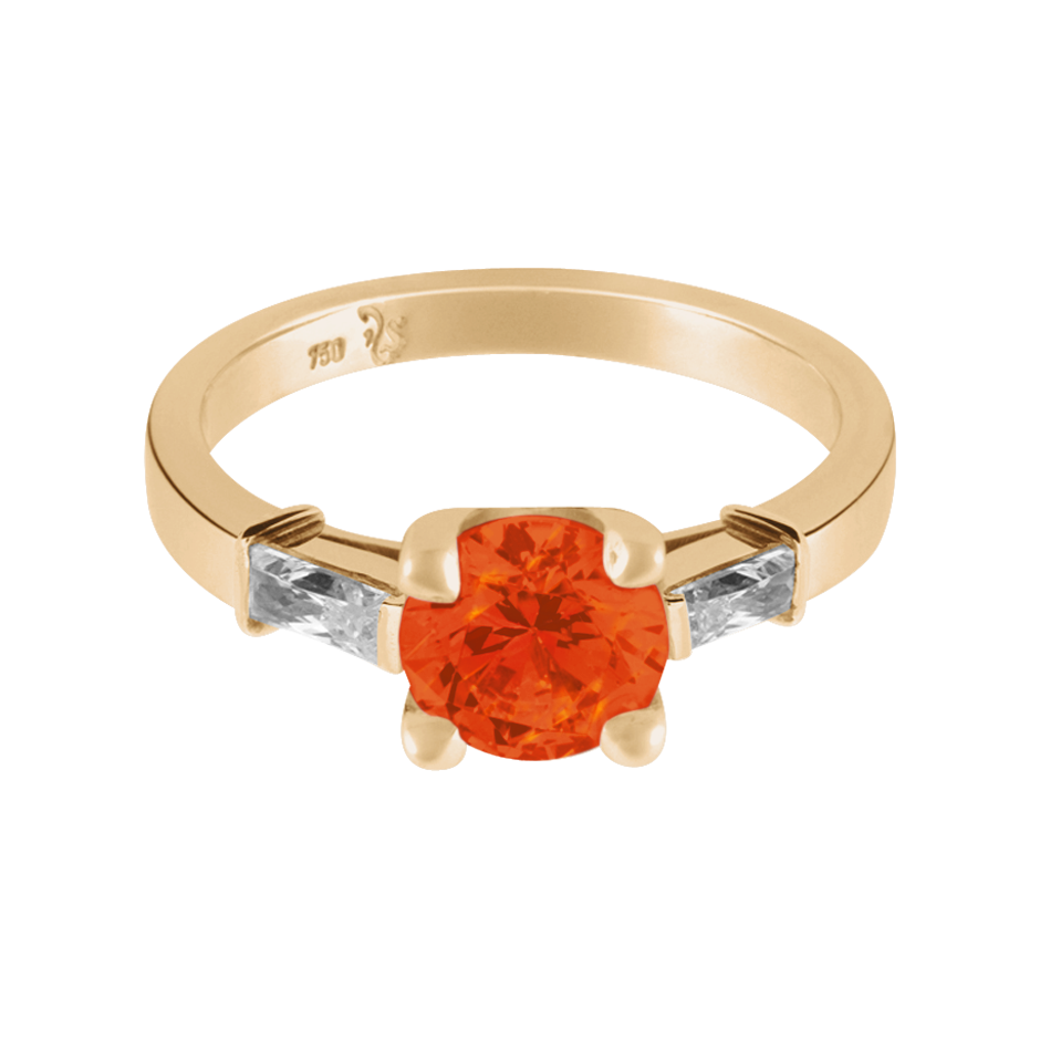 Paris Fire Opal orange in Rose Gold