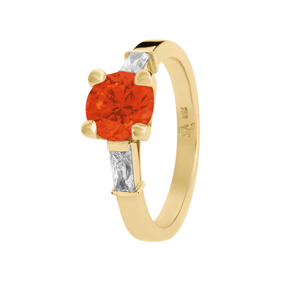 Paris Fire Opal orange in Yellow Gold