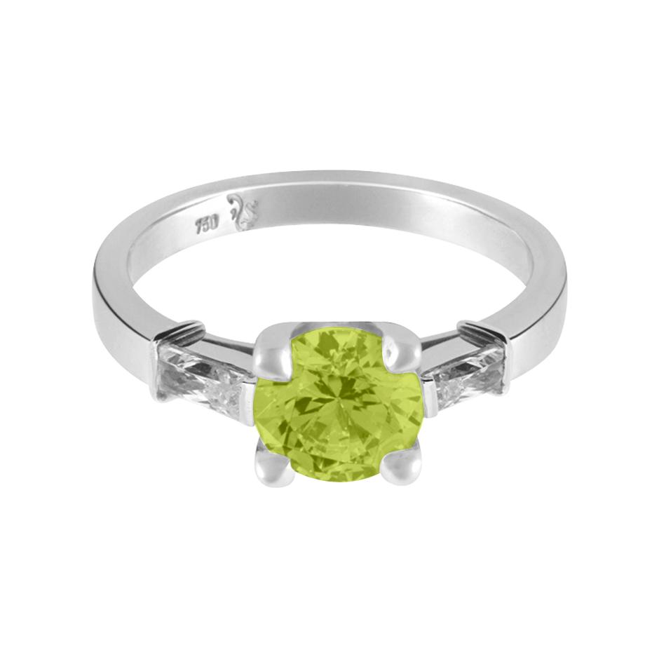 Paris Peridot green in Platinum