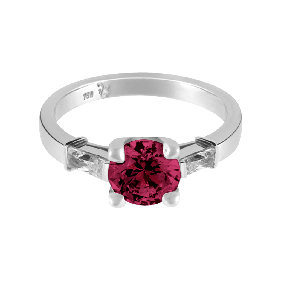 Paris Rhodolite red in Platinum