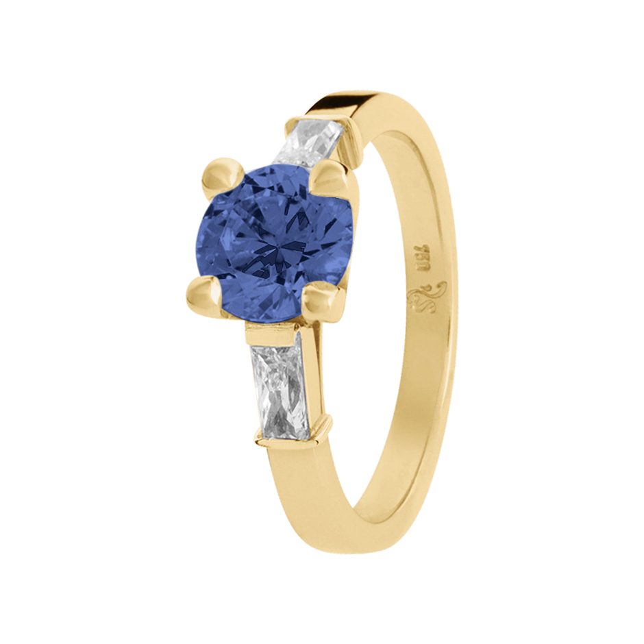 Paris Tanzanite blue in Yellow Gold