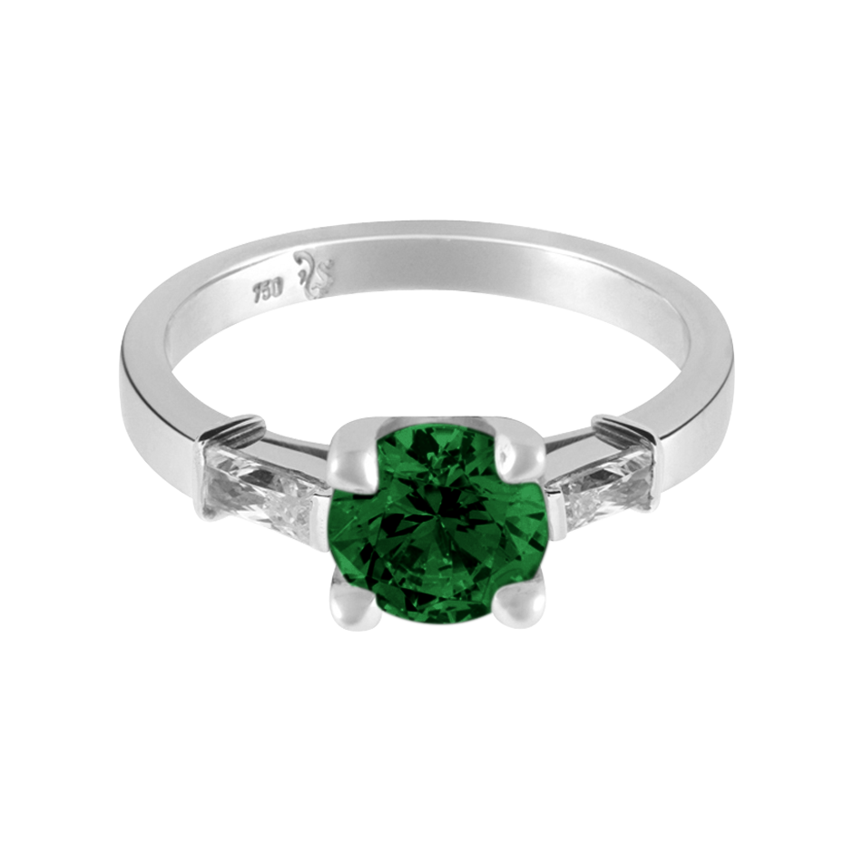 Paris Tourmaline green in Platinum
