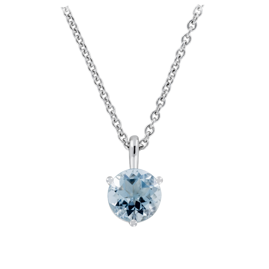 Pendant 3 Prongs Aquamarine blue in White Gold