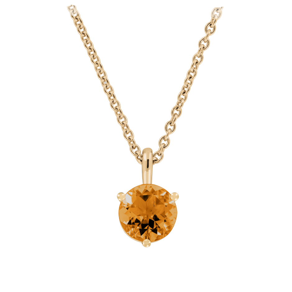 Pendant 3 Prongs Madeira Citrine orange in Rose Gold
