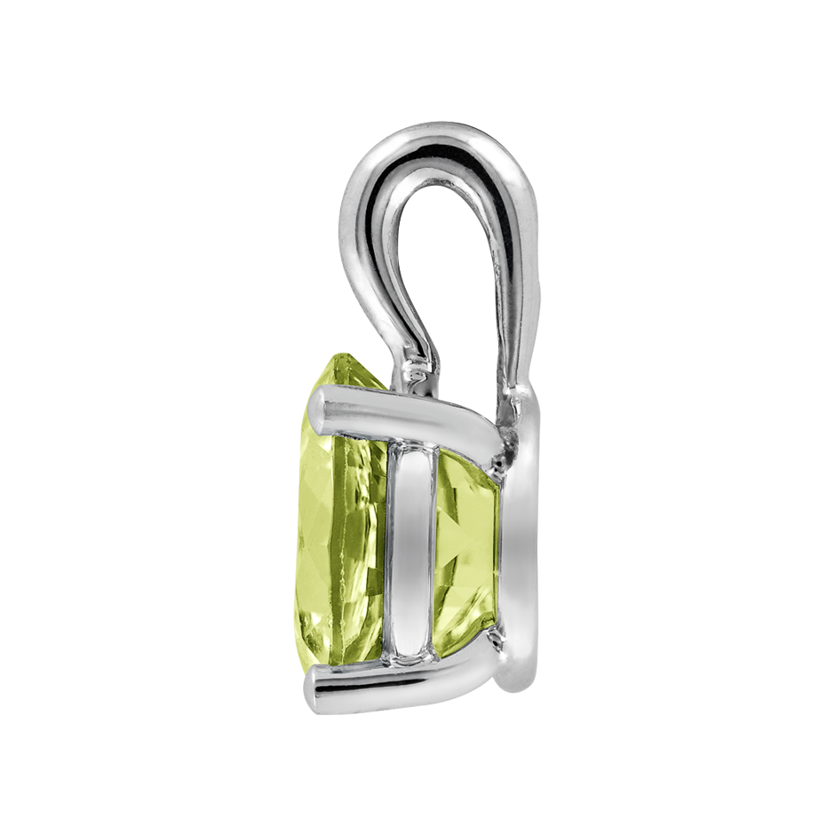 Pendant 3 Prongs Peridot green in Platinum