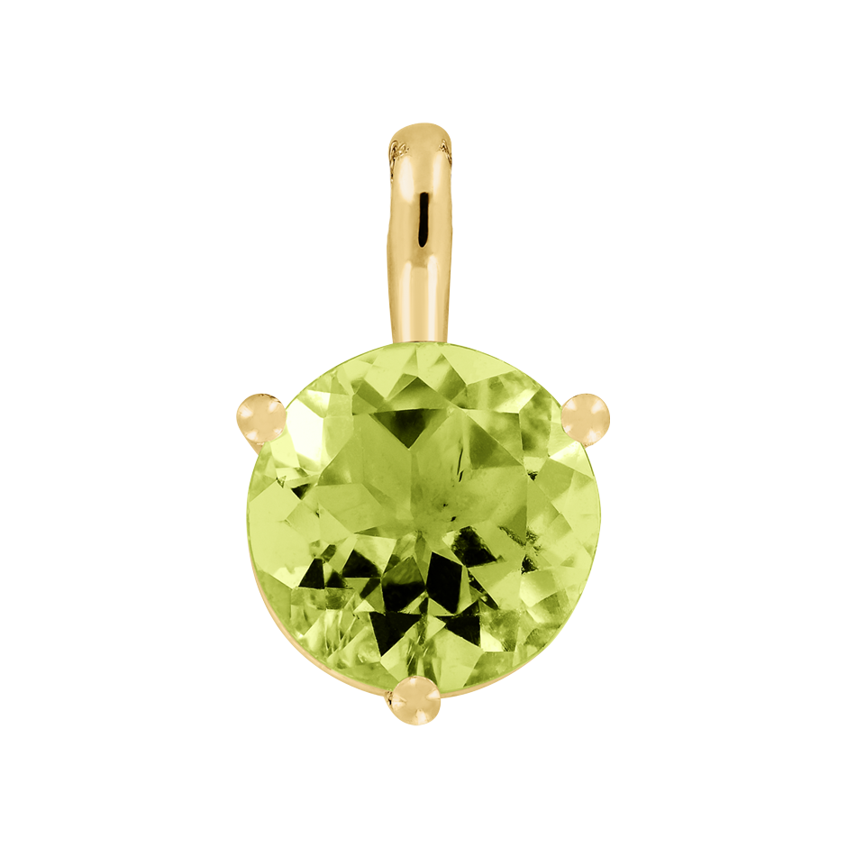 Pendant 3 Prongs Peridot green in Yellow Gold