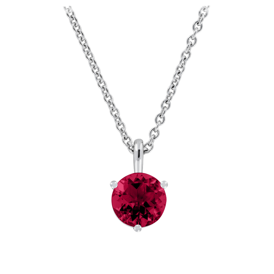 Pendant 3 Prongs Ruby red in White Gold