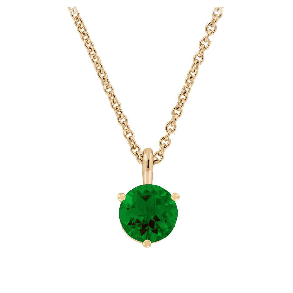 Pendant 3 Prongs Tourmaline green in Rose Gold