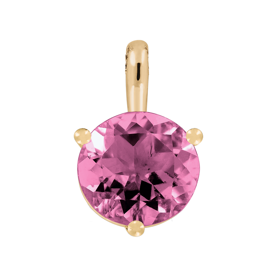 Pendant 3 Prongs Tourmaline pink in Rose Gold