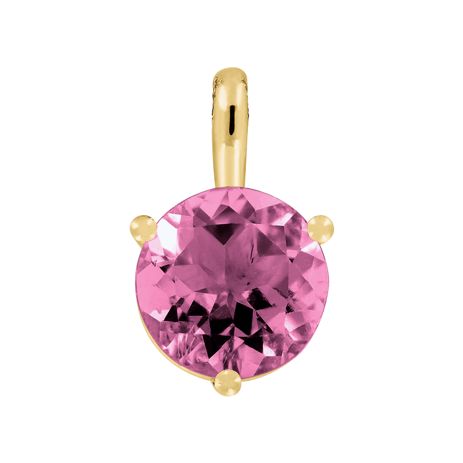 Pendant 3 Prongs Tourmaline pink in Yellow Gold