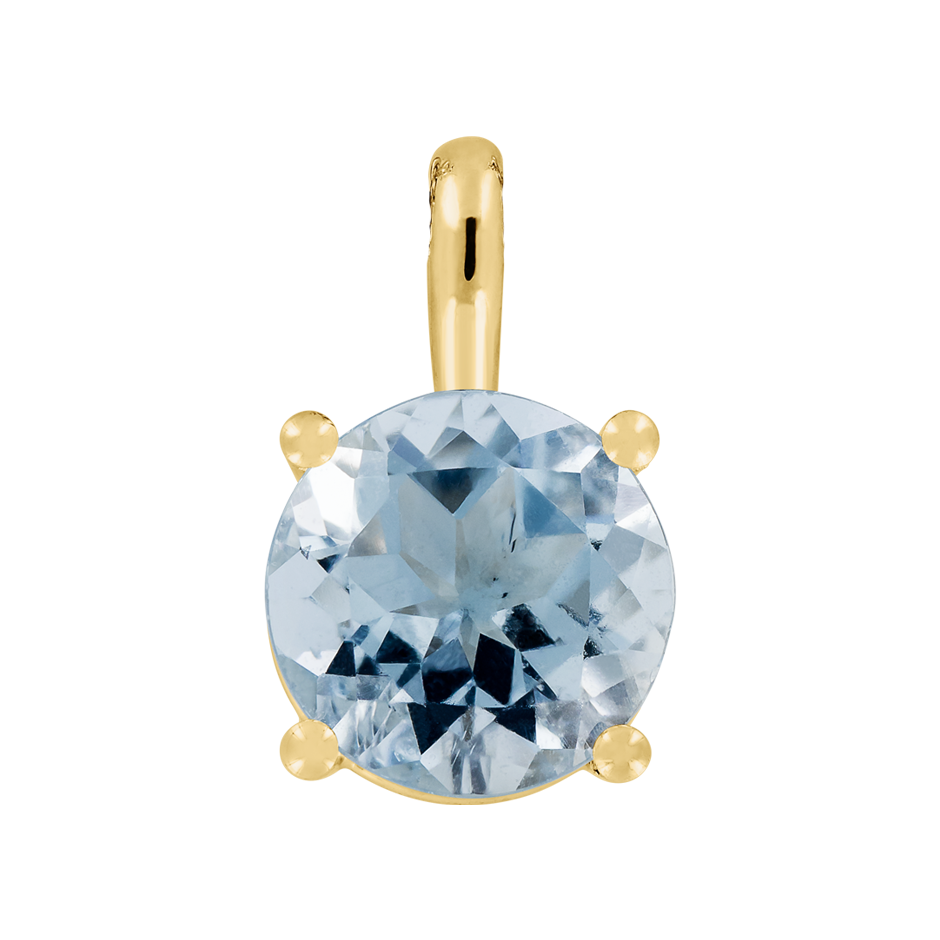 Pendant 4 Prongs Aquamarine blue in Yellow Gold