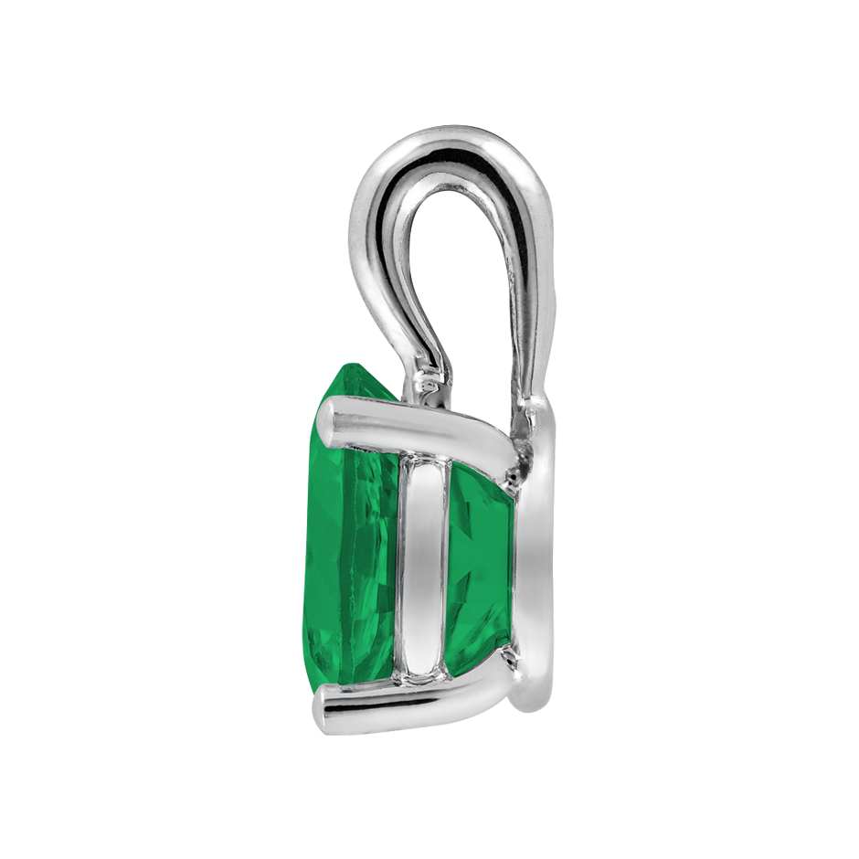 Pendant 4 Prongs Emerald green in Platinum