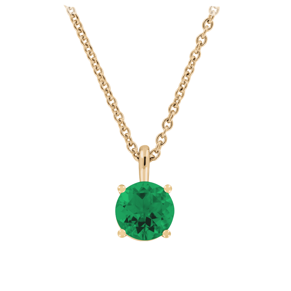 Pendant 4 Prongs Emerald green in Rose Gold