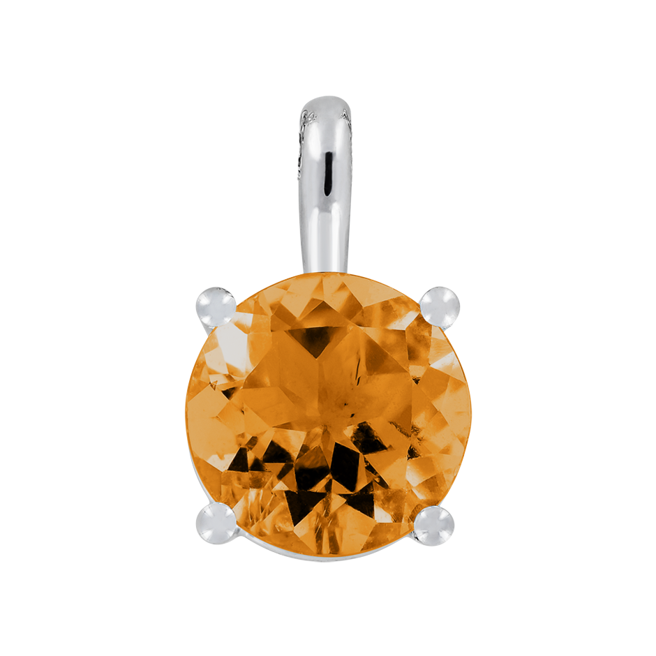 Pendant 4 Prongs Madeira Citrine orange in Platinum