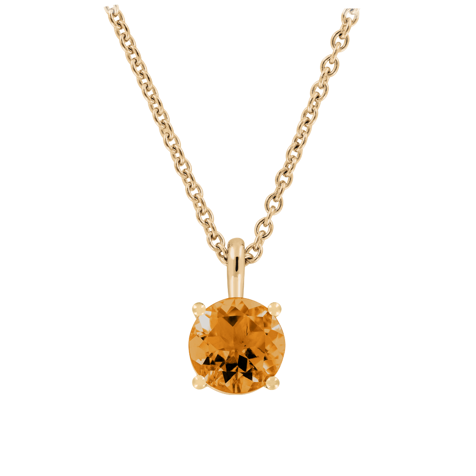Pendant 4 Prongs Madeira Citrine orange in Rose Gold