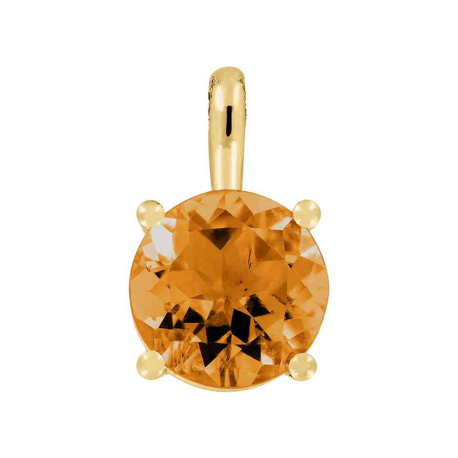 Pendant 4 Prongs Madeira Citrine orange in Yellow Gold