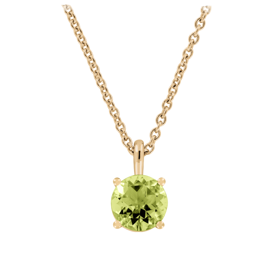 Pendant 4 Prongs Peridot green in Rose Gold