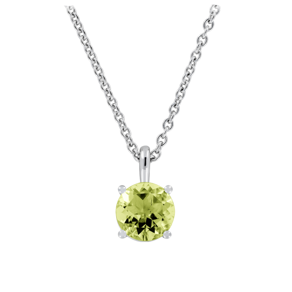 Pendant 4 Prongs Peridot green in White Gold
