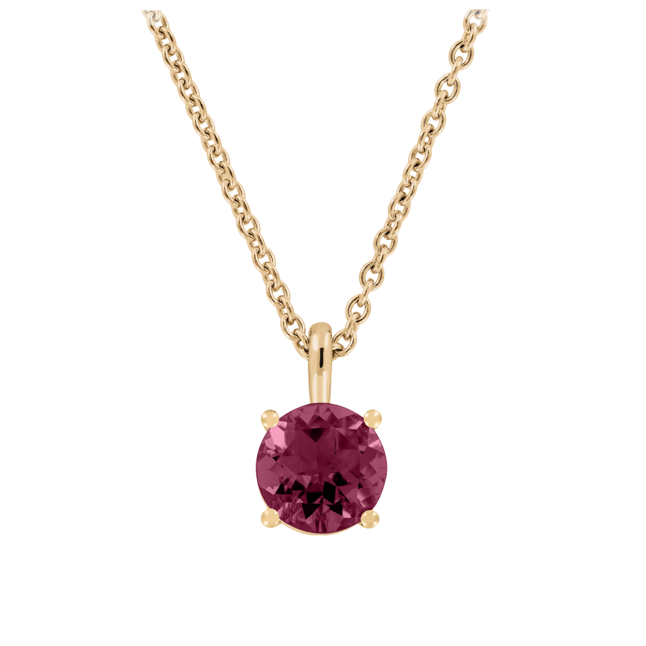 Pendant 4 Prongs Rhodolite red in Rose Gold