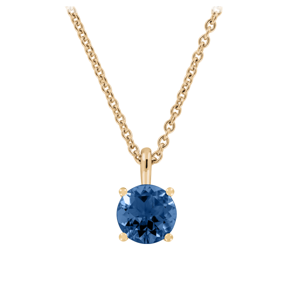 Pendant 4 Prongs Sapphire blue in Rose Gold