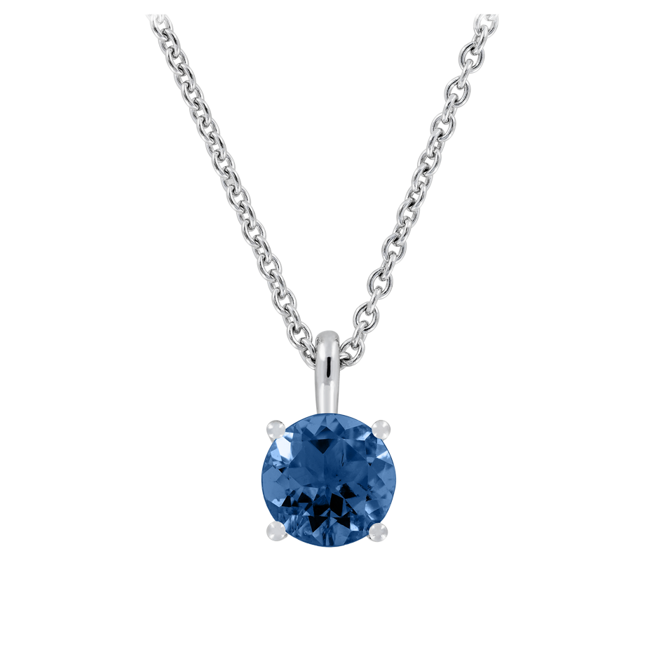Pendant 4 Prongs Sapphire blue in White Gold