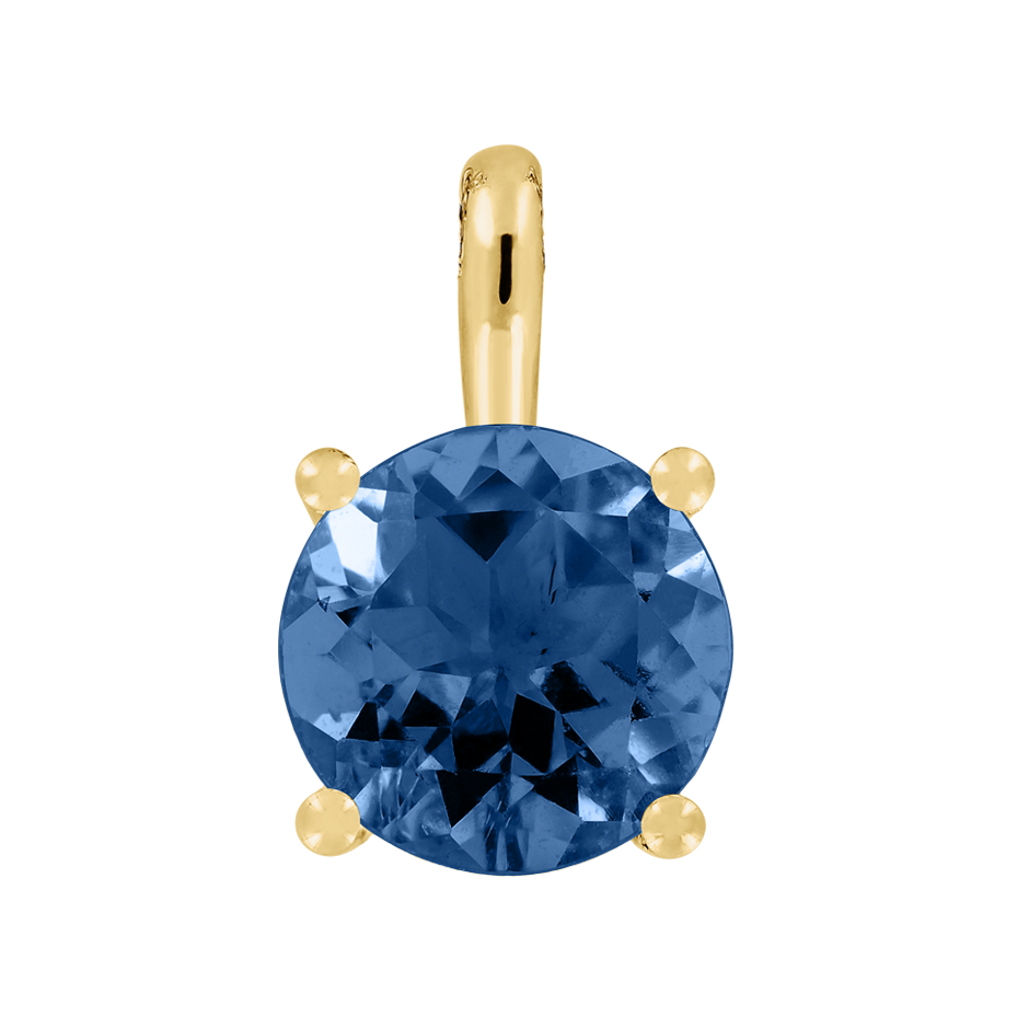 Pendant 4 Prongs Sapphire blue in Yellow Gold