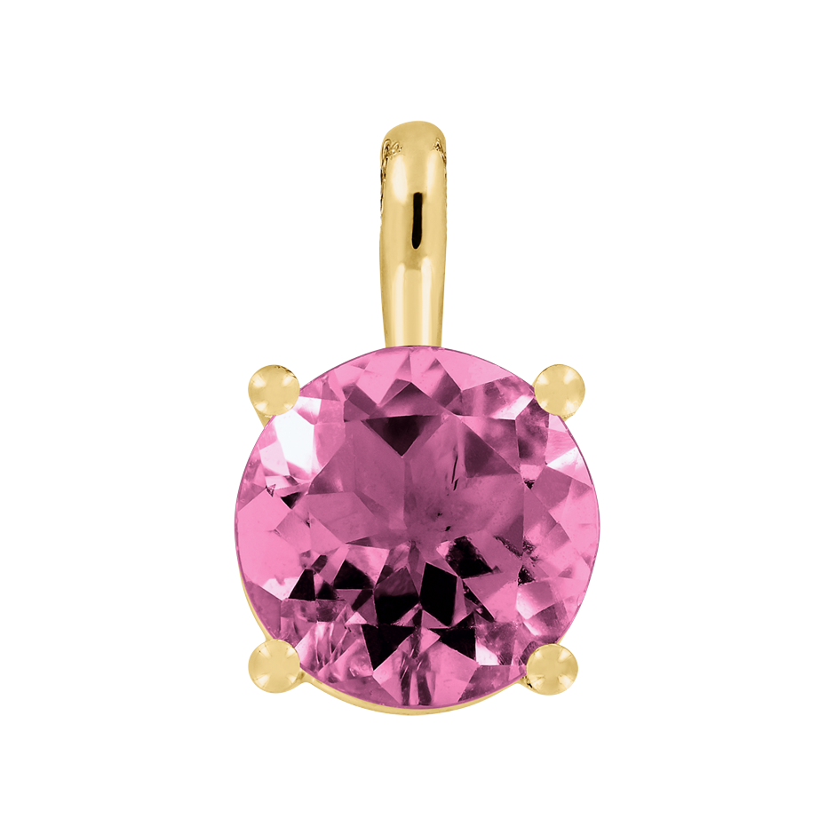 Pendant 4 Prongs Tourmaline pink in Yellow Gold