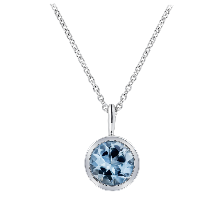 Pendant Bezel Aquamarine blue in White Gold