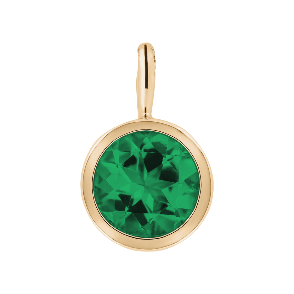Pendant Bezel Emerald green in Rose Gold