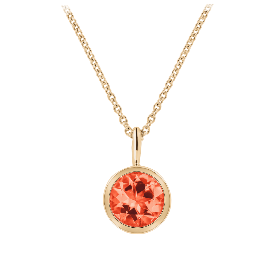 Pendant Bezel Fire Opal orange in Rose Gold
