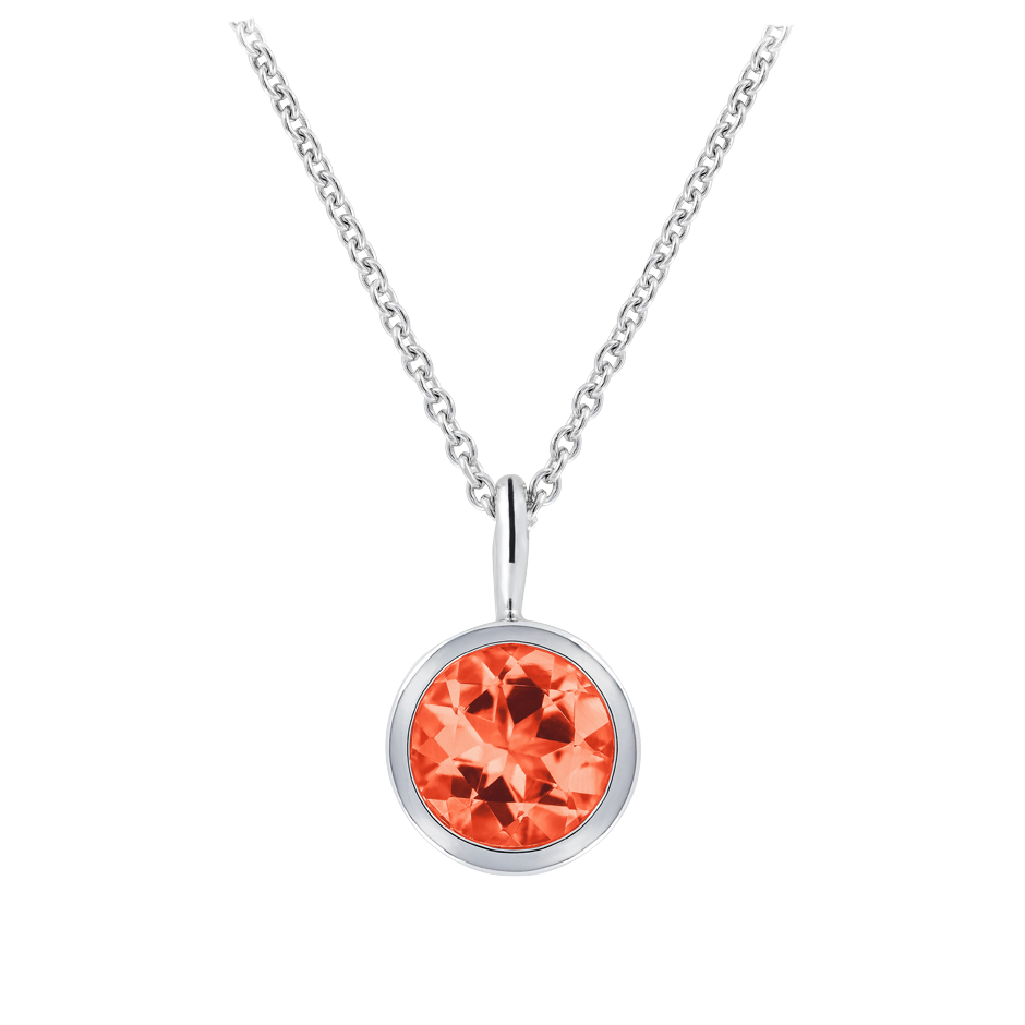 Pendant Bezel Fire Opal orange in White Gold