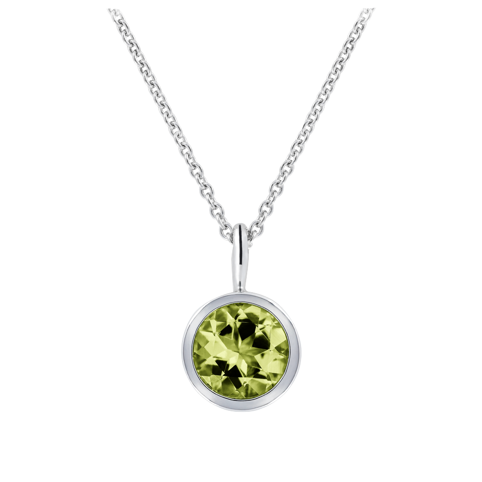 Pendant Bezel Peridot green in White Gold