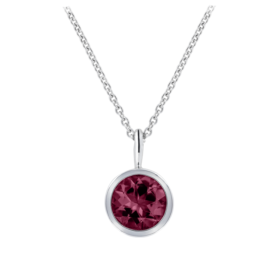 Pendant Bezel Rhodolite red in White Gold