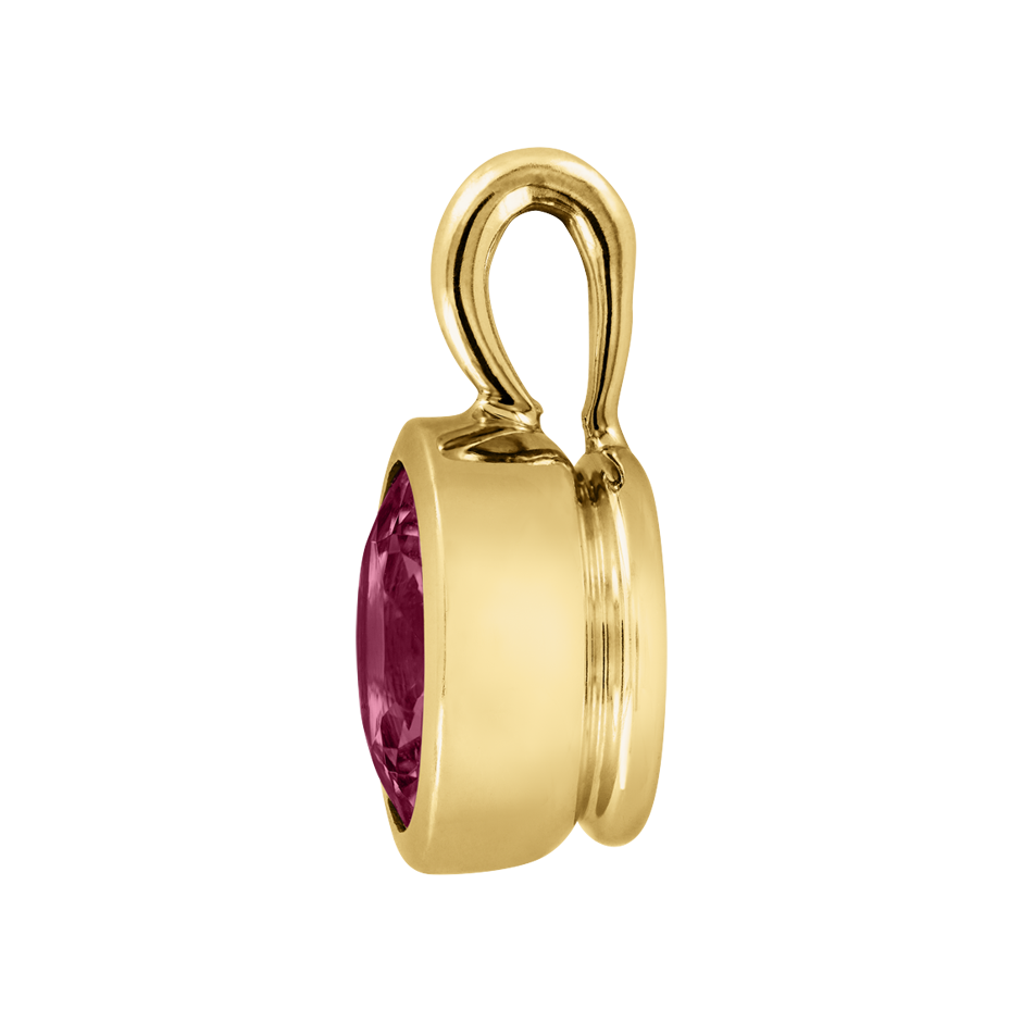 Pendant Bezel Rhodolite red in Yellow Gold