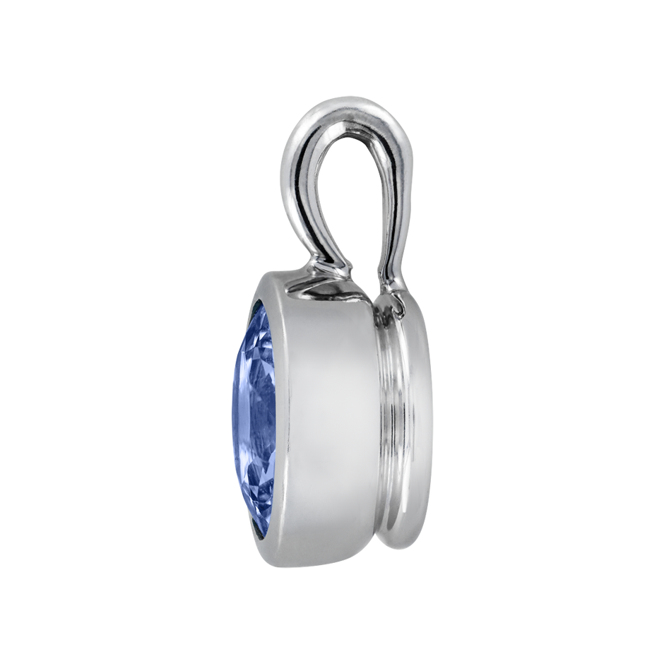 Pendant Bezel Tanzanite blue in White Gold