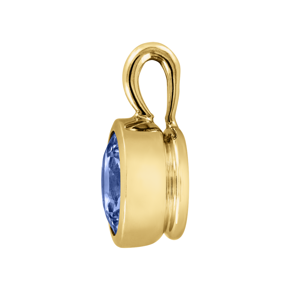Pendant Bezel Tanzanite blue in Yellow Gold