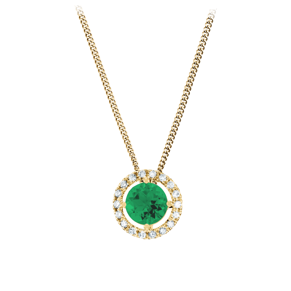 Pendant Halo Emerald green in Yellow Gold