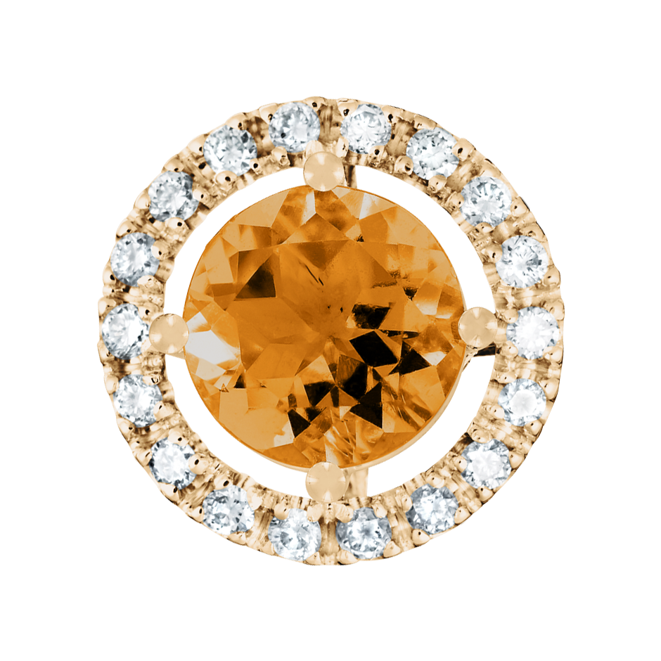 Pendant Halo Madeira Citrine orange in Rose Gold