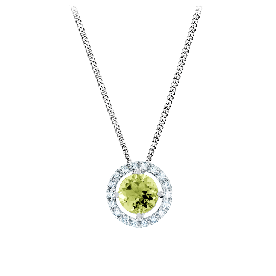Pendant Halo Peridot grün in White Gold